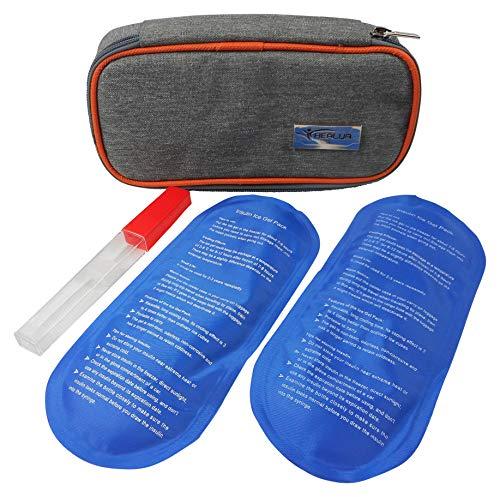 Travel Insuline Koeltas door HEALUA- Diabetische organisator Draagbare medische reiskoeler-pack met 2 x 8 uur extra koele herbruikbare ijspakketten, thermometer en gebruikte naaldzak - Ga door met goedgekeurde maat