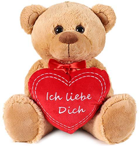 Brubaker Teddy Plüschbär mit Herz Rot - Ich Liebe Dich - 35 cm - Teddybär Plüschteddy Kuscheltier Schmusetier - Braun Hellbraun