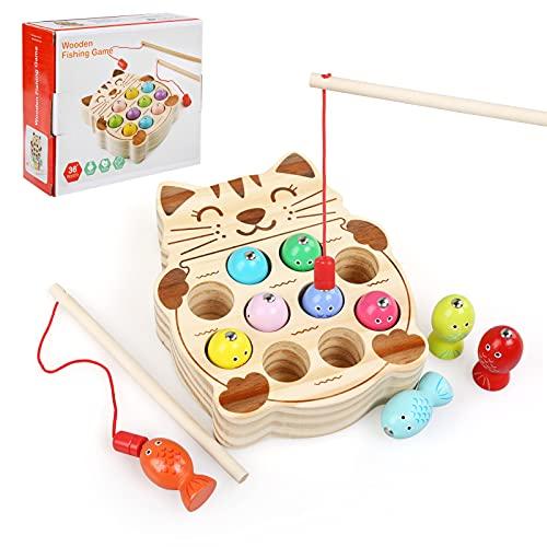 LEADSTAR Puzzles de Madera Magnético, Juego de Pesca Magnética de Madera Juego, Juegos de Madera para Niños Montessori Juguetes Juegos Educativos para 1 2 3 4 5 Años, Pizarra Magnetica Bebe (Cat)
