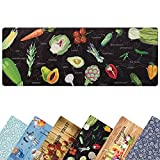 Kitchen Mat Cushioned Farmhouse Anti Fatigue Kitchen Rugs and Mats Non Skid Washable Comfort Runner Waterproof Stain Resistant Standing Rugs 18x47 Black