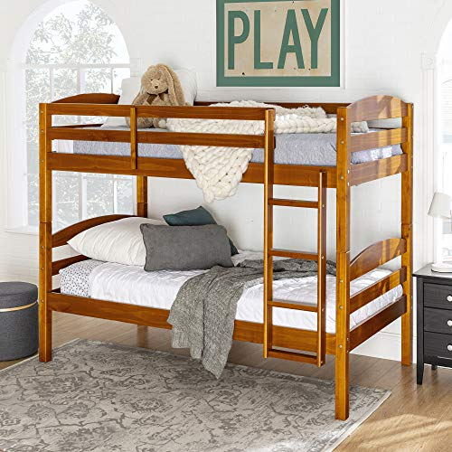 Walker Edison Wood Twin Bunk Kids Bed Bedroom with Guard Rail and Ladder Easy Assembly, Honey