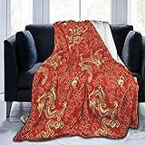 CLQQP Throw Blanket Red Chinese Gold Dragon Fleece Blanket Super Soft Baby Blanket Warm Blankets Summer Air Conditioner Fleece Throw