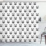 ABAKUHAUS Tätowieren Duschvorhang, Panda Bär Portraits, mit 12 Ringe Set Wasserdicht Stielvoll Modern Farbfest & Schimmel Resistent, 175x200 cm, Weiß Schwarz