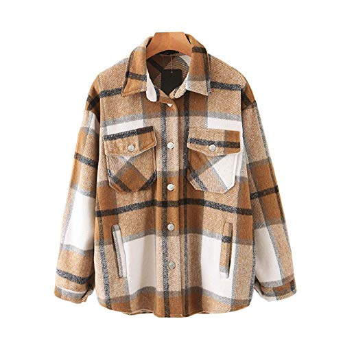 Womens Casual Wolle Mischung Plaid Revers Taste Unten Langarm Shacket Jacke Mantel Winter Lose Oversize Shirts (S,Khaki)