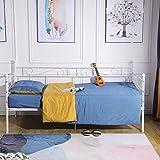 EGGREE Tagesbett Bettsofa Schlafsofa Einzelbett Metallbett Jugendbett Kinderbett Gästebett Bett Sofa 90x190cm Beige - 4