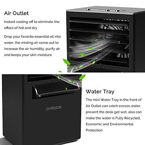 Portable Air Conditioner Fan, OYRGCIK Mini Air Conditioning Fan Personal Space Air Cooler Misting Fan Small Evaporative Desktop Fan Air Circulator Purifier Humidifier for Office Dorm Nightstand, Black