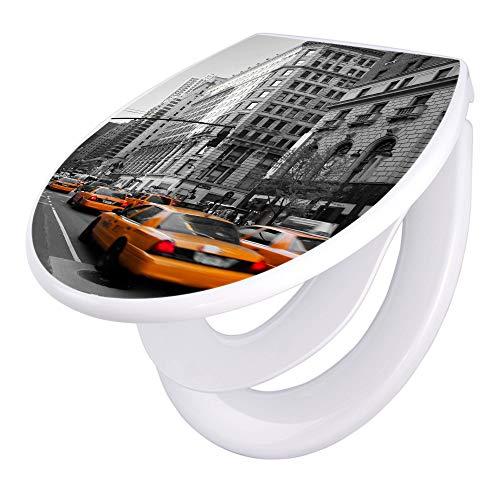 banjado Familien WC Sitz mit Absenkautomatik | Toilettendeckel mit Kindersitz | Klodeckel weiß | Toilettensitz mit Soft Close | 44 x 37 cm WC Deckel mit Motiv New York Taxi