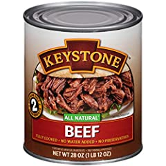 28 ounce can Beef and sea salt Fully cooked-ready to eat, all natural-no MSG or other preservatives; no water added, chunk style-maintains texture and flavor; gluten free; low in sodium/fat; shelf stable Ideal for chefs (home and restaurant), campers...