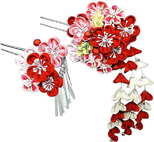 髪飾り 2点セット 赤 ピンク 白 花 かんざし つまみ細工 振袖 成人式 卒業式 結婚式 七五三 袴 和装 wk-226