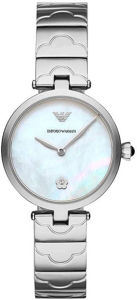 Emporio armani, orologio per donna, in acciaio inossidabile con finitura argento lucido AR11235