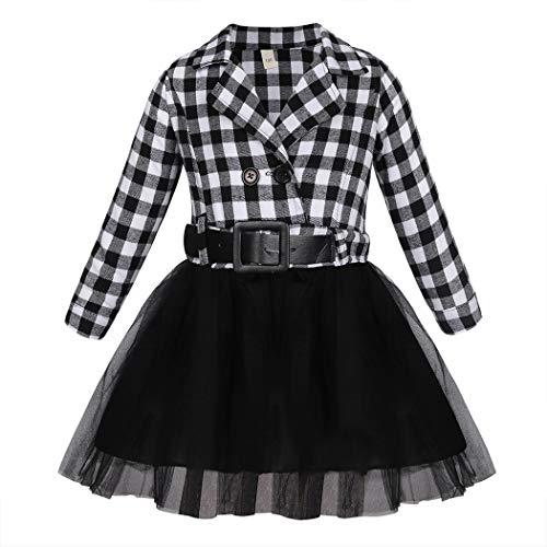 Jurebecia Mädchenkleider Lange Ärmel Kariertes Mädchenhemd Kostüm für Mädchen Tutu für Mädchen Christmas Schwarz 3-4 Jahre