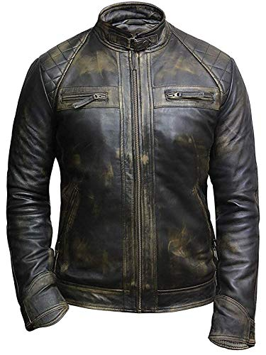 Leather Jackets For Men Distressed Retro Real Sheepskin Mens Leather Motorcycle Jacket