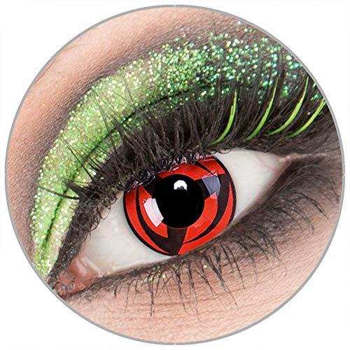 Farbige rote schwarze 'Kakashi' Kontaktlinsen ohne Stärke 1 Paar Crazy Fun Kontaktlinsen mit Behälter zu Fasching Karneval Halloween - Topqualität von 'Giftauge'