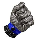 Iycorish Guantes resistentes a los cortes, guantes de trabajo de seguridad, color azul, a prueba de cortes, malla de acero, de alto rendimiento, nivel 5, talla S
