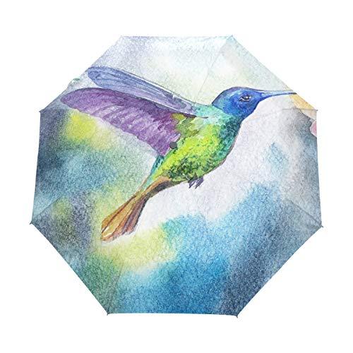 Kunst Aquarell Specht Vogel Regenschirm Taschenschirm Automatische Umbrella Winddichte Sonnenschutz Regenschirme Taschenschirme für Damen Herren