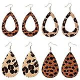 Lightweight Handmade Leaf Leather Earrings DIY Leopard Print Leather Earrings Teardrop Dangle for Women Girls