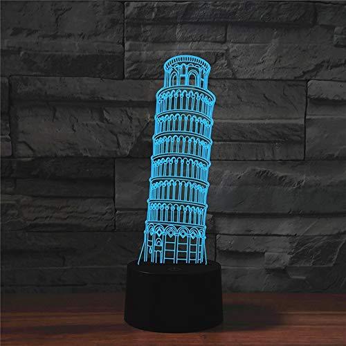 L-yxing Sonido Versión Táctil USB, París Torre Inclinada Forma 3D LED LED Lámpara de Mesa de Viaje Buena Apariencia