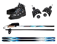 Please use the Sizing Guides and Charts in Images. 207 cm Skis (for skiers 180 lbs. and Up) SKIS: Whitewoods Cross Tour Skis; Laminated wood core. Lightweight cap construction. Machined negative waxless base. 64-55-59 side-cut. ABS tail. BINDINGS: 75...
