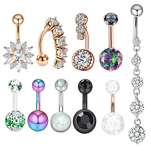 IPINK 21 Pcs Belly Button Ring Lot Crystal Belly Rings Surgical Steel 14 Gauge