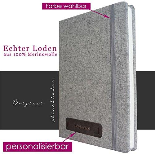 Loden Notizbuch A4 grau mit Stifthalter, blanco, PERSONALISIERBAR