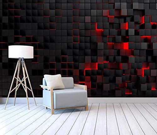 Tapete 3D Fototapete Schwarzes Rotes Quadrat Tapeten 3D Effekt Vliestapete Moderne Wanddeko