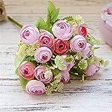 Planta de la flor artificial, Decoración para el hogar Plantas artificiales Pequeñas brotes de té Roses Ramo para accesorios nupciales de boda Liquidación de flores decorativas Flores (Color : 4)
