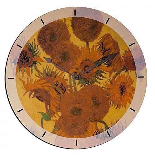 Artopweb EC35021 Van Gogh Sunflowers wandklok, hout, meerkleurig, 60 x 0,5 x 60 cm