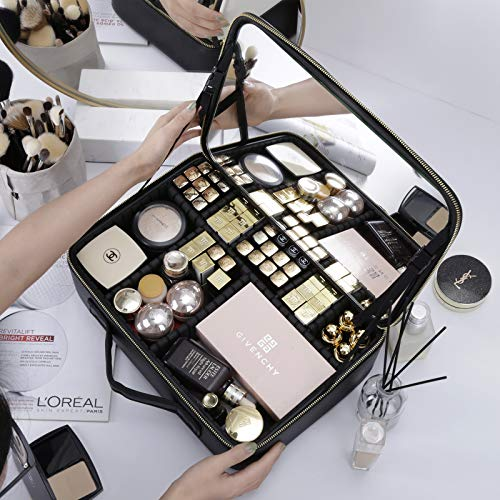 Rownyeon Makeup Train Case with Mirror Portable 16inch Cosmetic Organizer Professional Makeup Bag with Adjustable Dividers for Cosmetics Makeup Brushes and Toiletry Jewelry Digital Accessories