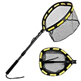 Floating Fishing Net Folding Landing Net with Telescopic Pole, Rubber Coated Mesh Net, Freshwater& Saltwater Easy Catch & Release for Bass, Walleye, Small Redfish, Speckled Trout, Kayak, Canoe etc.