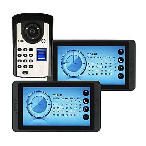 OUYA Sistema De Videoportero con Cable, Kits De Sistema De Teléfono De Puerta con Timbre De Video De 7 Pulgadas, con Función De Desbloqueo De Huellas Dactilares,620fd12