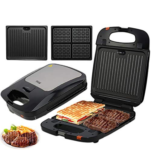 Lucky Big Head YY Broodkoker, Panini machine, Toast, Steak elektrische oven, gegrilde lekkere hamburgers en gegrild vlees, 4 verwisselbare bakvormen