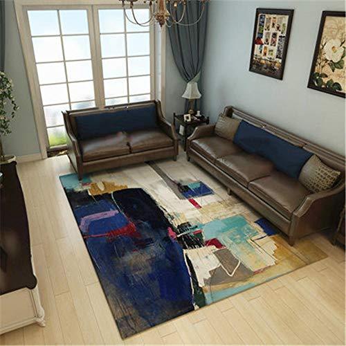 Alfombra salón,Alfombra Azul, patrón de Tinta difusa, fácil de aspirar, antibacteriana, Alfombra a Prueba de Polvo, Alfombra Outlet -Azul_El 180x200cm