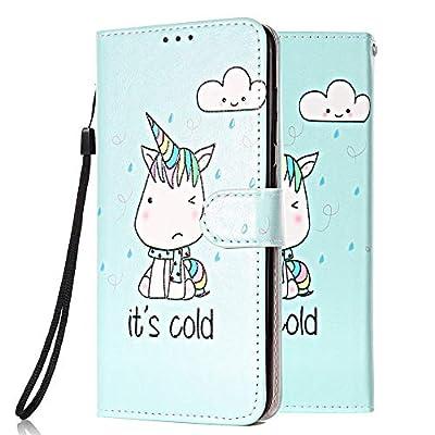 Funda Libro para Samsung Galaxy A70 Carcasa de Cuero Efecto de Mármol Animal Flip Wallet Case Cover con Tapa Teléfono Piel Tarjetero - Unicornio Verde