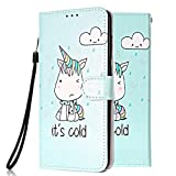Funda Libro para Samsung Galaxy S7 Edge Carcasa de Cuero Efecto de Mármol Animal Flip Wallet Case Cover con Tapa Teléfono Piel Tarjetero - Unicornio Verde
