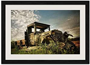 Abandoned old Car - Art Print Wall Black Wood Grain Framed Picture(16x12inch)