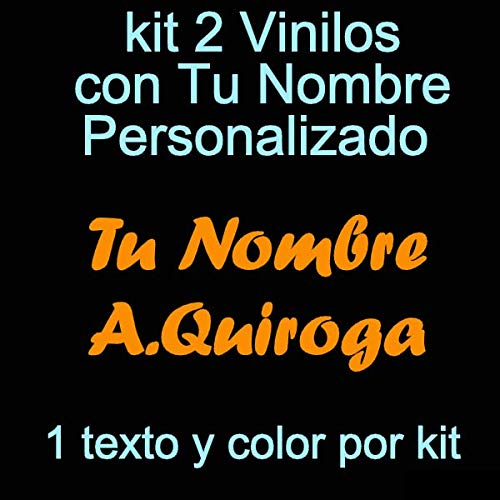 Vinilin - Pegatina Vinilo Tu Nombre o Texto Personalizado - Bici, Casco, Pala De Padel, Monopatin, Coche, Moto, etc. Kit de Dos Vinilos (Naranja)