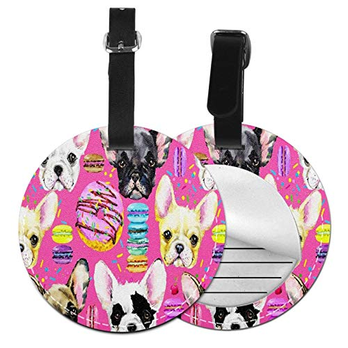 Luggage Tags Bulldog Puppy Donuts Suitcase Luggage Tags Business Card Holder Travel Id Bag Tag