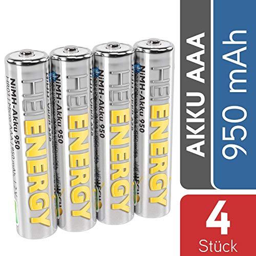 HEITECH AAA Akku Micro 950 mAh 1,2V NiMH TÜV geprüft 4 Stück - Wiederaufladbare Batterien mit...