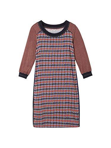 Sandwich Damen Kleid mit Pied-de-Poule und Pied-de-Coque Muster