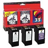 Lexmark 18C1517 32 33 X3330 X3350 X5250 X5270 X5450 X5470 X7170 X7300 X7350 X8350 Z815 Z816 Ink Cartridge Tri-Pack (2 Black & 1 Color, 3-Pack) in Retail Packaging