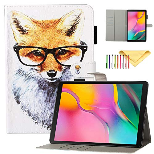 Kids Case for Samsung Galaxy Tab A 10.1 Inch 2019 SM-T510/T515/T517 Wallet Protective Cover with Card Slots and Kickstand Feature, Fox