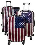 Trendyshop365 Hartschale Koffer-Set USA Stars and Stripes 3-teilig Bunt