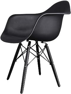 LRSFY Silla de Comedor Retro PP Silla de Comedor Blanca Y Negra Silla de Oficina Silla de Salón Sillón Comedor Cocina (Color : Black)
