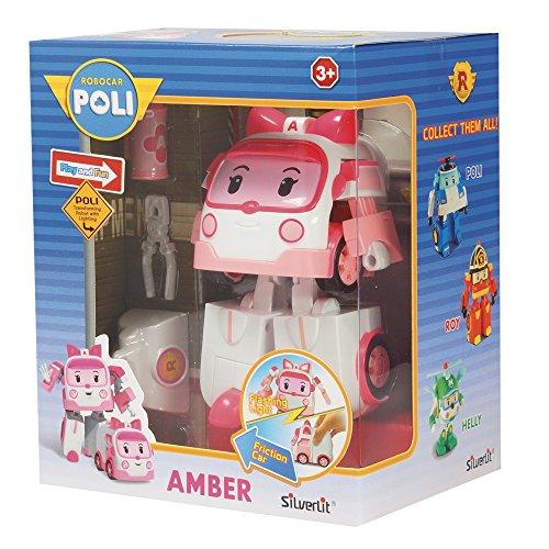 Rocco Giocattoli 83095 - Robocar Poli Amber Personaggio Trasformabile con Luci