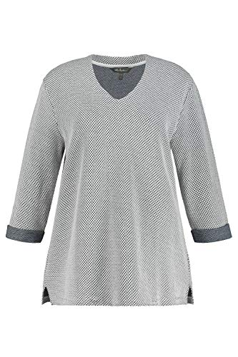 Ulla Popken Damen große Größen Übergrößen Plus Size Pullover, Strukturstrick, V-Ausschnitt, 3/4-Arm Marine 54+ 781851130-54+