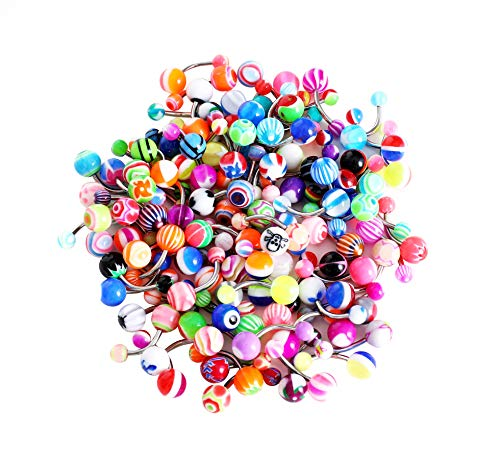 HuayoRong 100 Pieces Belly Button Rings Banana Barbells 14G Surgical Steel Bar Mix Color Body Piercing Jewelry