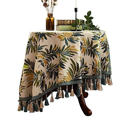 American Rond tafelkleed Eettafel Cover Table Rond tafelkleed Koffietafel Jacquard Tablecloth Household Cotton linnentafelkleed met kwastje (Size : 140cm)