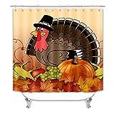 Thanksgiving Badezimmer Duschvorhang, Kürbis Duschvorhang, Türkei Duschvorhang mit Haken (183 x 183 cm) (S23)