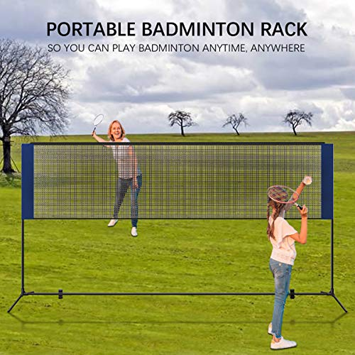 Portable Badminton Net with Poles, 5.1m Adjustable Folding Badminton Volleyball Tennis Net for Indoor Outdoor Garden Backyard Schoolyard with Carry Bag, Easy Setup No Tools or Stakes Required