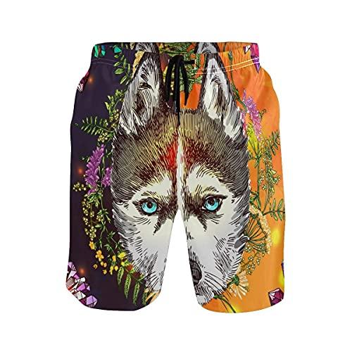 Bañador para hombre con diseño de flor de lobo y bohemio, de secado rápido, con bolsillo de malla